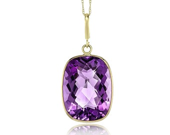"""9 CTTW Purple Amethyst 14K Yellow Gold Pendant with 18"""" Gold Chain"""
