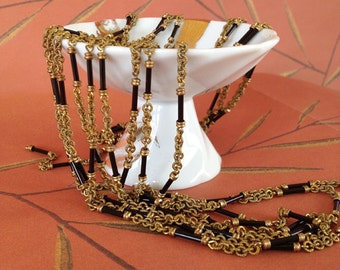 Sale Price!!! Vintage Rosary Chain, Black Glass Chain, Brass Bead Chain, 2ft