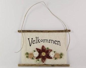 Velkommen, Danish Welcome, Paper Quilled Denmark Welcome Sign, 3D Quilled Banner, Rust Cream Tan Decor, Denmark Gift, Rustic Danish Wall Art