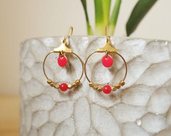Strawberry red hoop earrings - enamel jewelry
