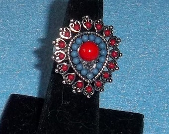 Red Blue Coral RING Hearts Mirrored Teardrop Silver Plate Setting