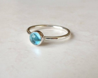 Blue Topaz Ring - Sterling Silver Stacking Ring - November Birthstone Ring - Silver Blue Topaz Ring - Blue Stone Ring