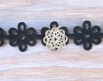 Black Leather Flower Cutout Choker with Gold Plater Flower