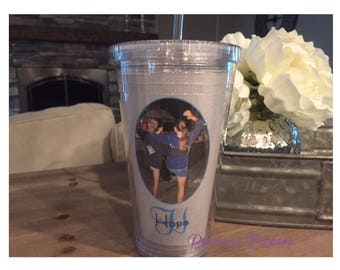 Personalized Photo plastic tumbler with lid and straw - tumbler with picture Mens photo gift mens tumbler ladies tumbler