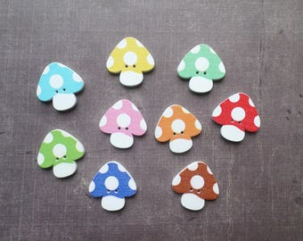 20 buttons wood form fall vegetable mushroom number 1