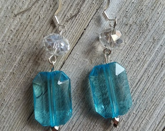 Crystal and light blue dangle earring