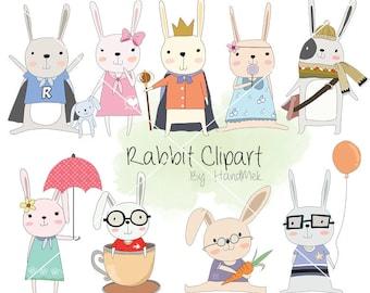Cute rabbit Clipart, bunnies Clipart, animal clipart PNG file-300 dpi