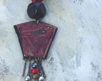 Black and red upcycled artist palette necklace in winter colors