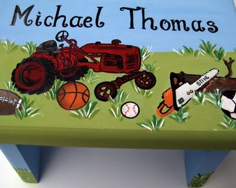 A personalized, customized tractor inspired step stool,boys farming room decor,stepstool,bench,personalized kids stool, childrens stepstool
