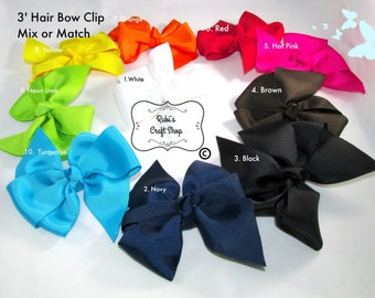 Set of 3 Hair Bows 3'- You Choose Your Colors - Handmade - Hair Accessorie - Craft Supplies -
