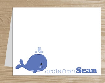 Personalized Kids' Note Cards - Set of 10 Whale Notecards for Boys - Folded Note Cards with Envelopes - Custom Whale Notecards