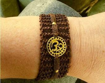 2 in 1 AUME Brown macrame bracelet