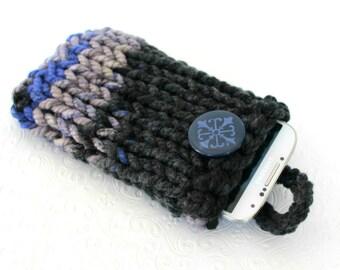 Grau blau stricken Handytasche, stricken Handytasche grau stricken Handy Socke, klobige stricken Handytasche, gestreifte Handytasche