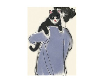 "Cat illustration tuxedo cat print Cat Art Decor Cat wall art  Henry and June - 8.3"" X 11.7""  animal portrait - 4 for 3 SALE"