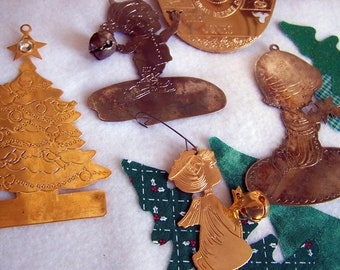 """Vintage 70's to 80's  """"Lot of  8 PLATED ORNAMENTS"""""""