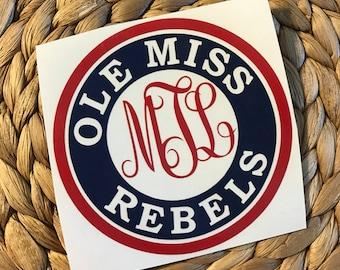 Ole Miss Rebels Monogrammed Vinyl Decal
