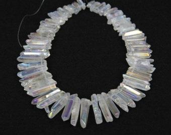 A-grade of strand Polished Rainbow White Raw Quartz Crystal Points Beads,Top Drilled Graduated Smooth Quartz Gemstone Pendants Beads