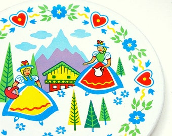 50's tin toy tea plate, Alpine Maids graphics, large size.
