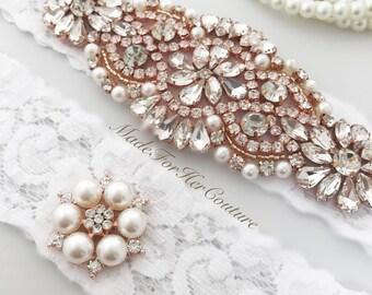 White Rose Gold Wedding Garter Set, White Rose Gold Bridal Garter Set, Rose Gold Garter, Bridal Garter, Wedding Garter Rose gold garter belt
