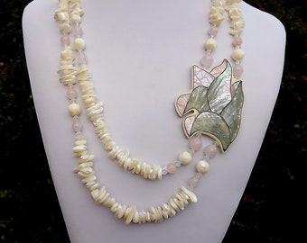 Vintage LEE SANDS MOP Abalone Inlay Shell Rose & Quartz Necklace earrings Set Beach Wedding