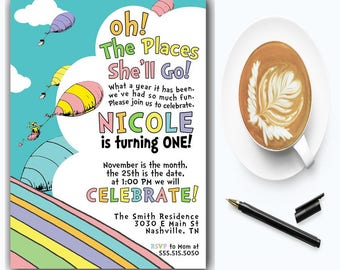 Oh The Places You'll Go Birthday Invitation | First Birthday Invitation | Girl Birthday | Boy Birthday | Dr Seuss Birthday Invitations