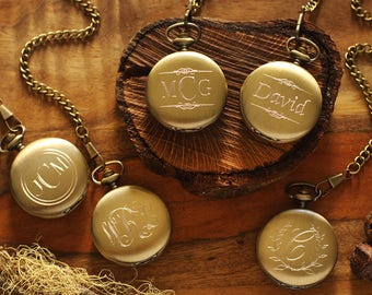 SET OF 5 - Engraved Pocket Watch, Personalized Groomsmen Gifts - Engraved Wedding Date -Anniversary Gift For Men