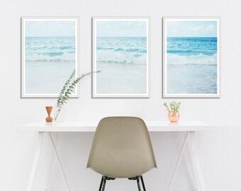 Beach Wall Art Set, Beach Photography Set, Large Beach Photography Set, Beach Art Prints Set, Blue Beach Art Set