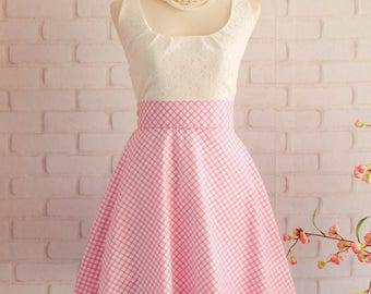 Pink Dress Pink Plaid Dress Pink Prom Dress Pink Party Dress Pink Bridesmaid Dresses Pink Sundress Scoop Neck Dress