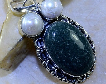 RUBY ZOISITE+ Rose Quartz + Black Onyx Sterling Silver Pendant 3 1/4""