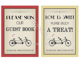 """Weddings - Tandem Bicycle Theme """" Guest Book & Love is Sweet - DIY Instant Printable Downloads - two 5x7 prints"""