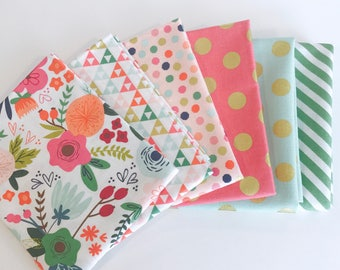 SALE!! 1/2 Yard Bundle On Trend By Jenn Allyson for My Minds Eye for Riley Blake Designs- 6 Fabrics