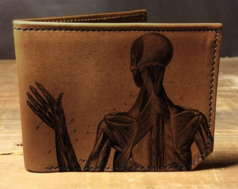 wallet - leather wallet - anatomy wallet - mens wallet- 006