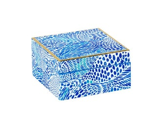 Monogrammed Blue Tang Gang Small Lacquer Box by Lilly Pulitzer / Personalized Fashion Jewelry Box / Lilly Pulitzer Ring Box / Monogrammed