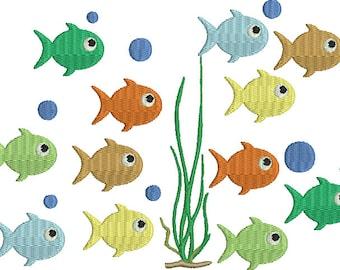 Fish Swimming Machine Embroidery Design Ocean Water