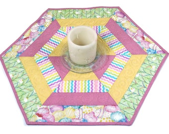 Easter Hexagon Quilted Table Topper, Easter Egg Candle Mat, Table Runner Quilt, Pink, Yellow, Green Hexagon Easter Decor, Pastel Candle Mat