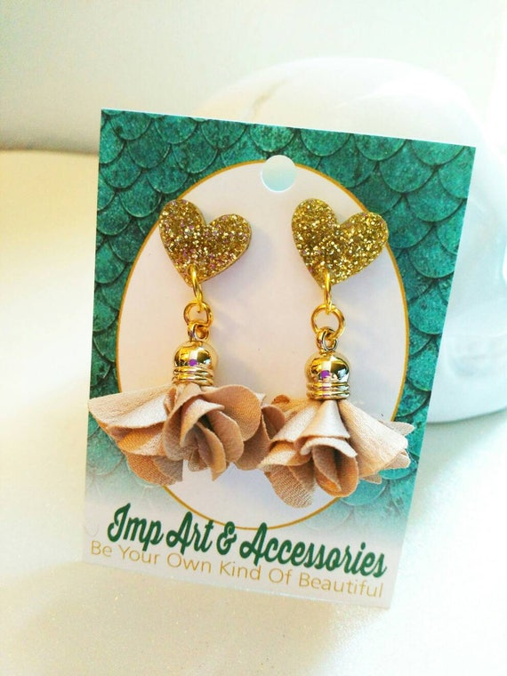 NUDE ROSETTES-14mm Post/Stud Nude Rosette Tassel in Gold Tone Setting Gold Glitter Heart Laser Cut Acrylic Earrings