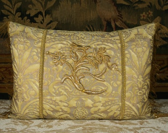 Fortuny Pillow With Antique Applique