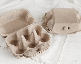 Egg Cartons - Set of 4 Plain Natural Brown Paper Pulp Half Dozen Egg Boxes