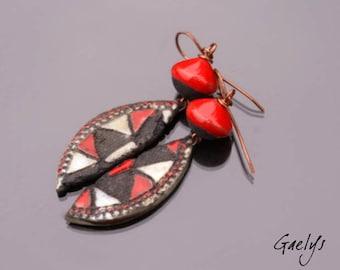 Pastsy - Stud Earrings, Pearl ceramic raku, gray / charcoal / red, copper - bo Gaelys