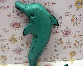 Dolphin Cast Iron Wall Hook Aqua Turquoise Cottage Chic Shabby Chic Nautical Beach House Home Decor