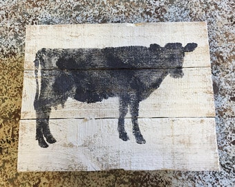Cow art, on the farm pallet art, wall hanging, sign, kitchen decor