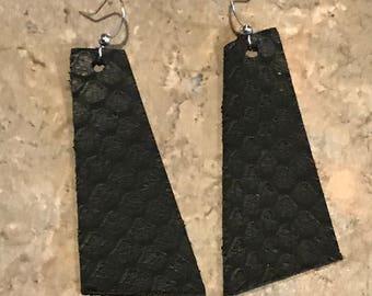 Leather Earrings, Light Weight, Black