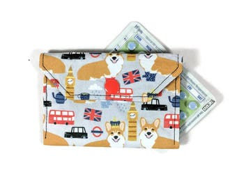 Dog Birth Control Case, Corgis in London Pill Cozy with Snap, Pill Sleeve, Pill Cover, Mini Wallet, Slim Wallet, Credit Card Holder