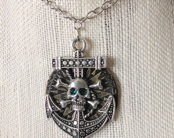 Nautical Skull Anchor Compass Pirate Steampunk Necklace