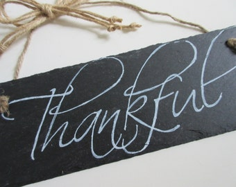 Christian Home Decor Chalkboard Slate Sign Wall Art - Grateful Thankful Blessed Give Thanks