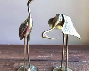 Pair of vintage solid brass Egrets cranes herons birds figurines
