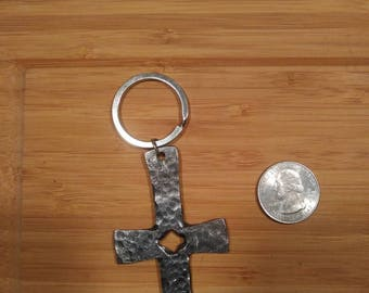 Hand forged Split cross key chain