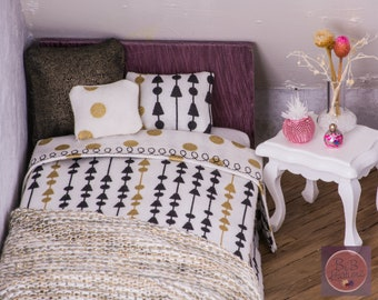 Miniature Bedding (Modern Dots and Arrows Twin Size) -- Dollhouse Miniatures 1:12 Scale