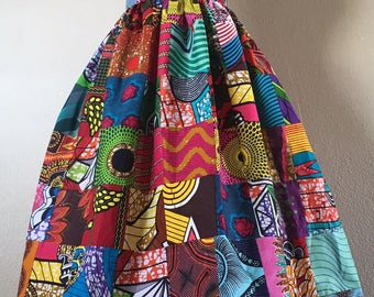 Beautiful Patchwork African Wax Print High Waisted Skirt Fit and Flare 100% Cotton
