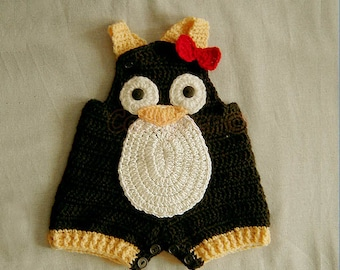 Digital Pattern-Baby Penguin Overall Shorties, Buttons at Legs for Easy Change - INSTANT DOWNLOAD Crochet e-Pattern